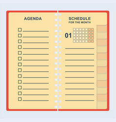 Agenda month shedule vector