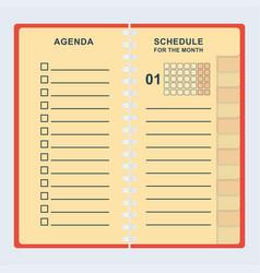Agenda month shedule vector