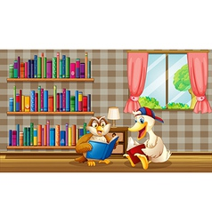 An owl and a duck reading inside the house vector
