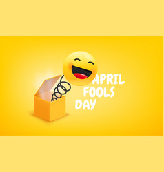 april fools day with gift box joke with laughing vector image