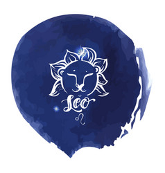 astrology sign on blue watercolor background with vector image