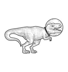 astronaut cartoon tyrannosaurus sketch vector image