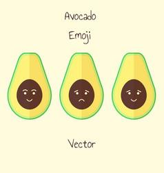 Avocado emoji set in flat style isolated sad vector