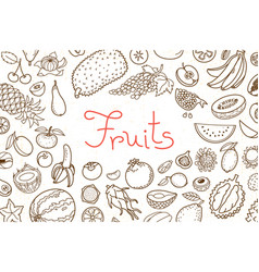 background with various fruits and an inscription vector image