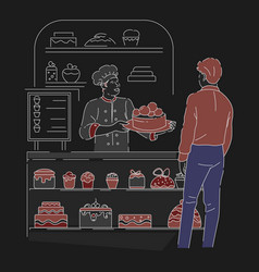 Bakery shop or confectionery baker with cake at vector