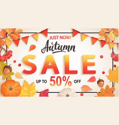 banner for autumn sale with big discounts vector image