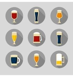 Big set of beer glasses and bottles vector
