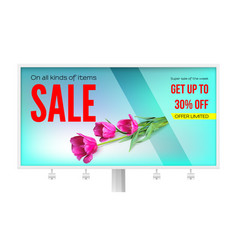 Billboard with sale action get up thirty percent vector