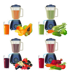 Blender and glass of smoothie organic fruits and vector