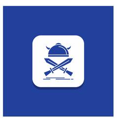blue round button for battle emblem viking vector image