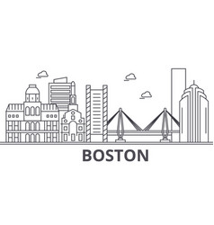 Boston architecture line skyline vector