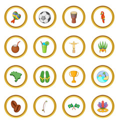 Brazil travel icons circle vector