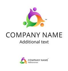 Bright logo unite people vector image