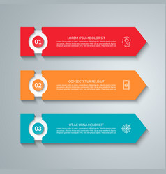 Business infographic template with 3 arrows vector