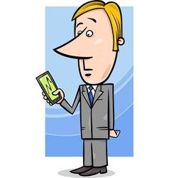 Businessman and graph on tablet pc vector