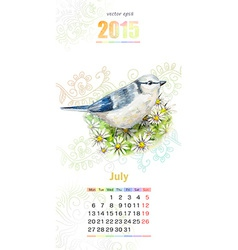 calendar for 2015 july vector image