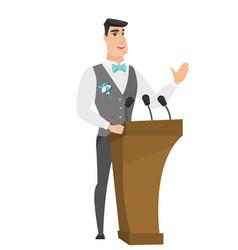 Caucasian groom giving a speech from tribune vector