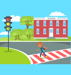 Cheerful redhead kid with red rucksack crossing vector