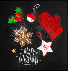 christmas elements glove chalk vector image vector image