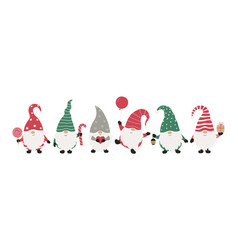 christms gnomes collection isolated on white vector image