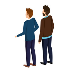 couple of men back avatars characters vector image