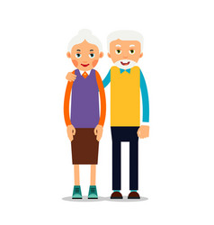 Couple older people two aged people stand vector