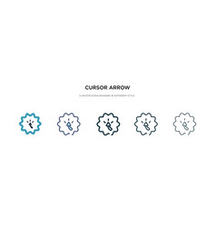 Cursor arrow icon in different style two colored vector