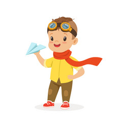 Cute little boy in pilot glasses playing with vector