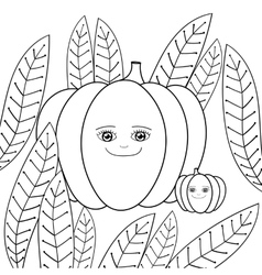 Cute pumpkins adult coloring book page Mother vector