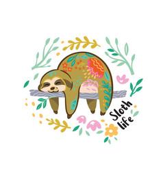 cute sloth bear animal character sleeping vector image