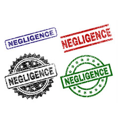 Damaged textured negligence stamp seals vector