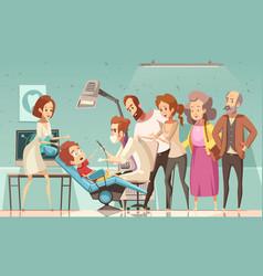Dentist treating baby cartoon vector