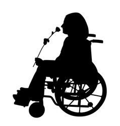 Disabled person smelling rose and waiting someone vector