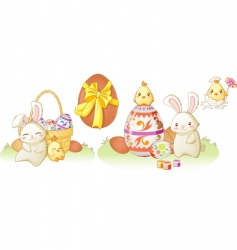Easter bunny and chicken vector