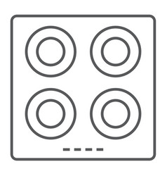 Electric hot plate thin line icon kitchen cooking vector