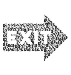 exit arrow collage of dollar and dots vector image
