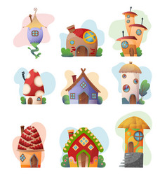 fantasy house set cartoon fairy treehouse vector image