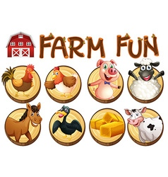 Farm animals on round buttons vector