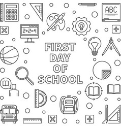 first day school concept minimal linear vector image