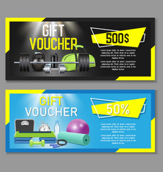 Fitness gift voucher template set vector