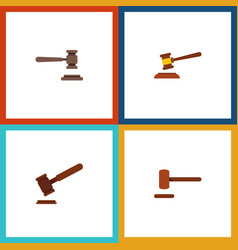 Flat icon lawyer set of hammer justice legal and vector