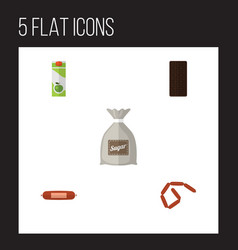 Flat icon meal set of sack bratwurst packet vector