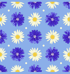 Floral seamless pattern with chicory and camomile vector