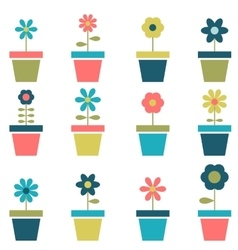 flowers in pots set vector image