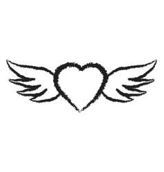 flying angel heart with wings symbol love hand vector image