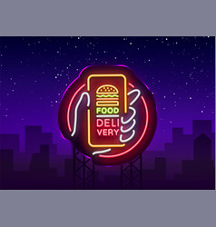 Food delivery neon sign smartphone in hands vector