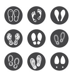Footprint icons set vector