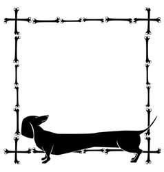 frame with dachshund vector image
