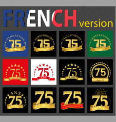 french set of number 75 templates vector image