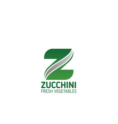 Fresh vegetables food letter z icon vector
